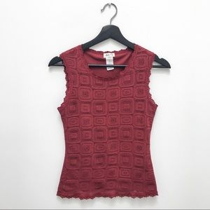 ⭐️3/$30 Arianne Crochet Knit Maroon Cami Tank - M